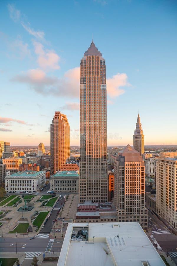 Mening van Cleveland van de binnenstad stock foto