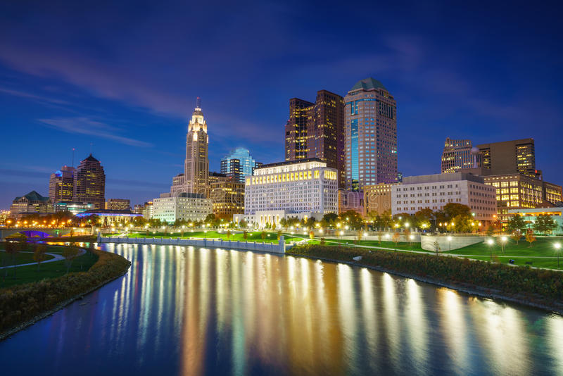 Mening van Columbus Ohio Skyline van de binnenstad royalty-vrije stock foto