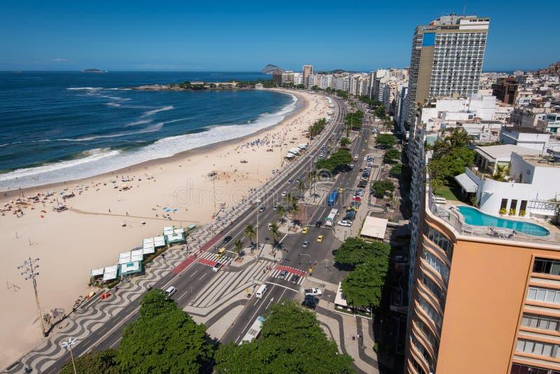 Mening van Copacabana-strand in Rio de Janeiro royalty-vrije stock afbeeldingen
