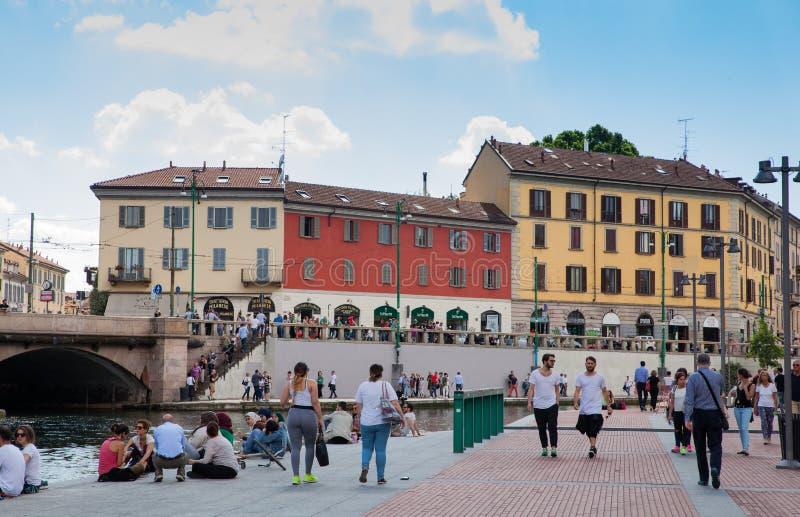 Mening van Darsena, Milaan royalty-vrije stock afbeelding
