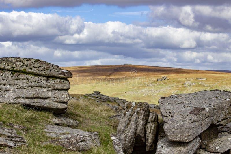 Mening van Dartmoor van Beardown-Piek royalty-vrije stock afbeelding