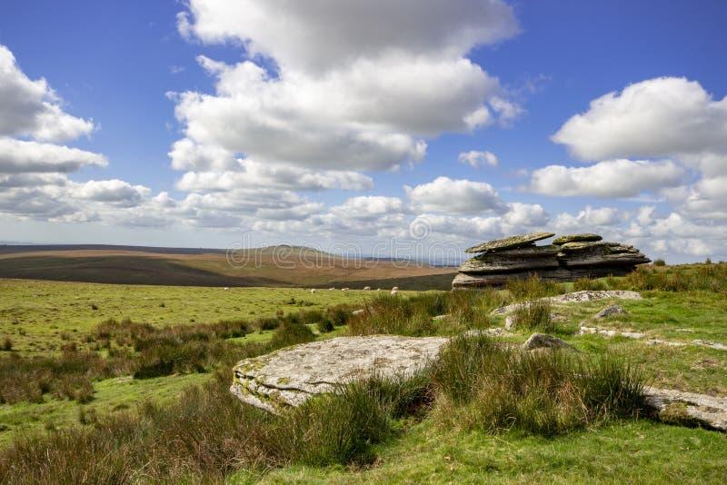 Mening van Dartmoor van Ruwe Piek stock afbeeldingen