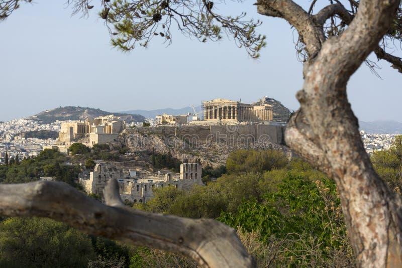 Mening van de Akropolis van Athene, Parthenon, monumenten van oud stock foto's