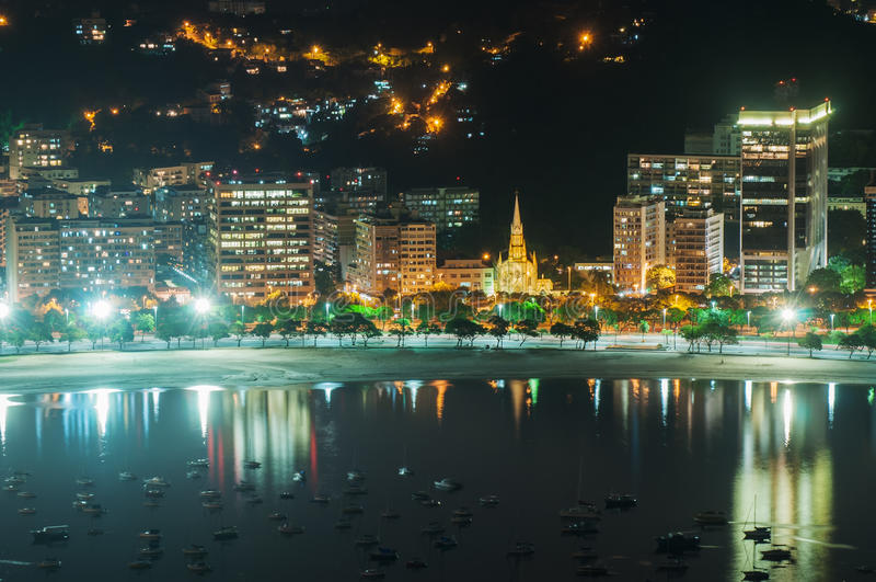 Mening van de baai van Botafogo en Guanabara-in Rio de Janeiro royalty-vrije stock fotografie