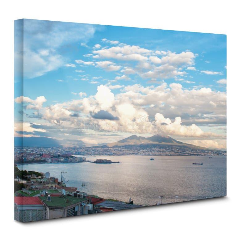 Mening van de baai van Napels op canvas royalty-vrije stock fotografie
