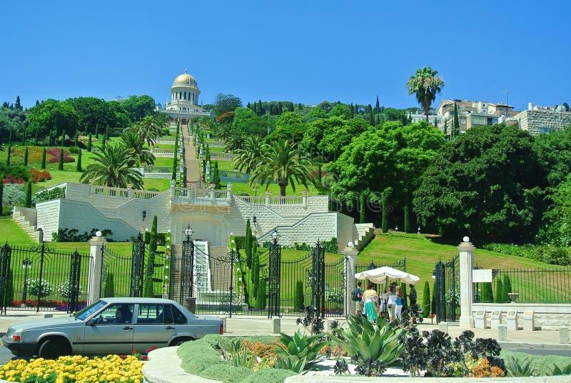 Mening van de Bahai-Tuinen Haifa Tourist Attractions israël stock afbeeldingen