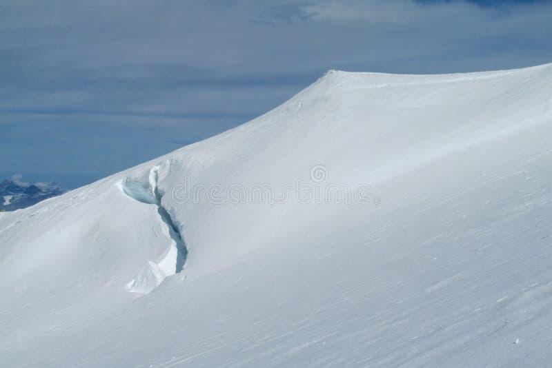 Mening van de barst van de sneeuwberg in Alpen stock afbeelding