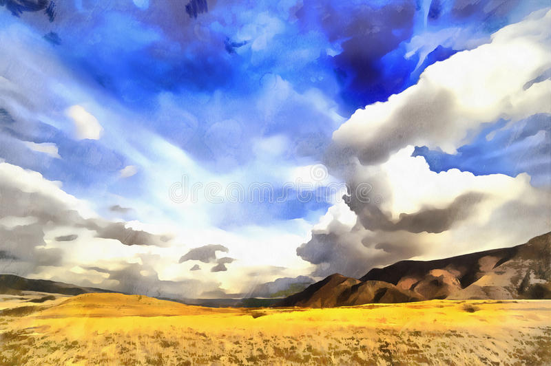 Mening van de bergen van de Kaukasus het kleurrijke schilderen stock foto's