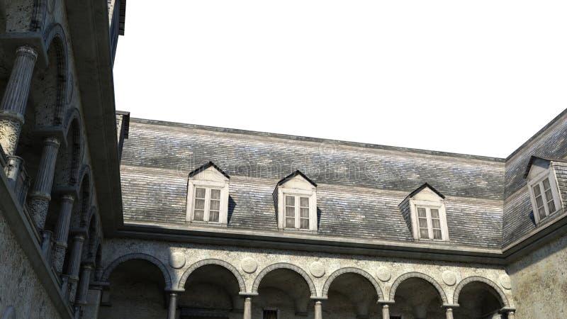 Mening van de binnenplaats bij de ingang aan het kasteel in de dag stock illustratie