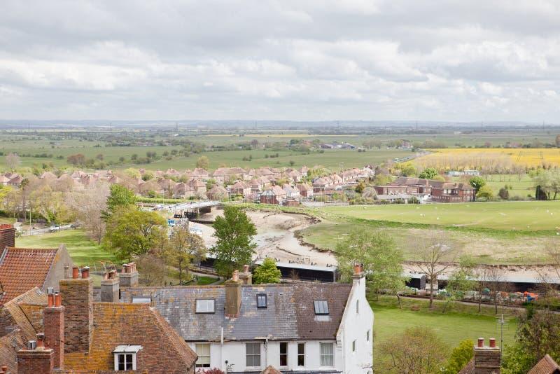 Mening van de daken van de historische Cinque Port-stad van Rogge stock foto's