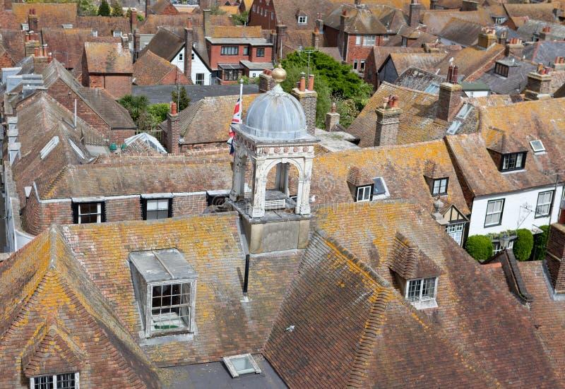 Mening van de daken van de historische Cinque Port-stad van Rogge royalty-vrije stock foto's