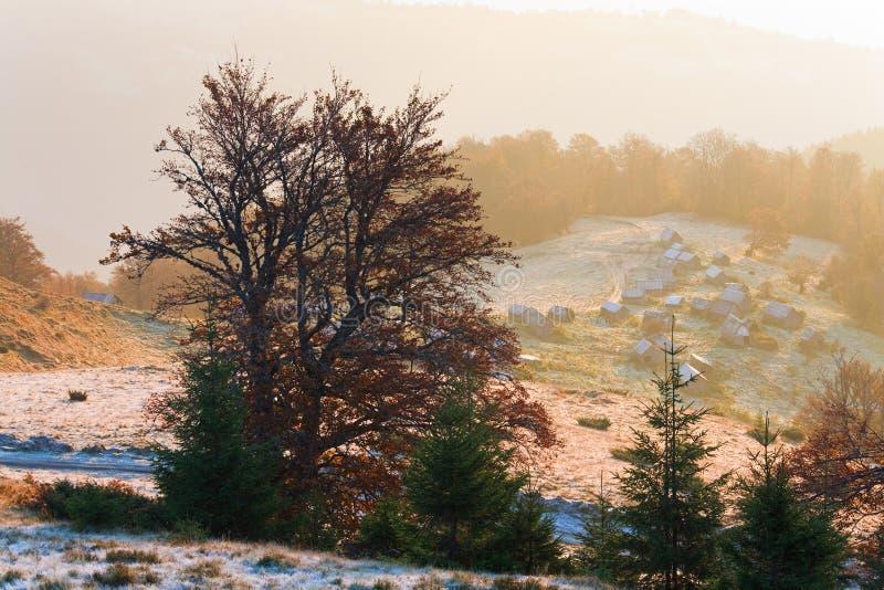 Mening van de de ochtendberg van de herfst de nevelige royalty-vrije stock afbeelding
