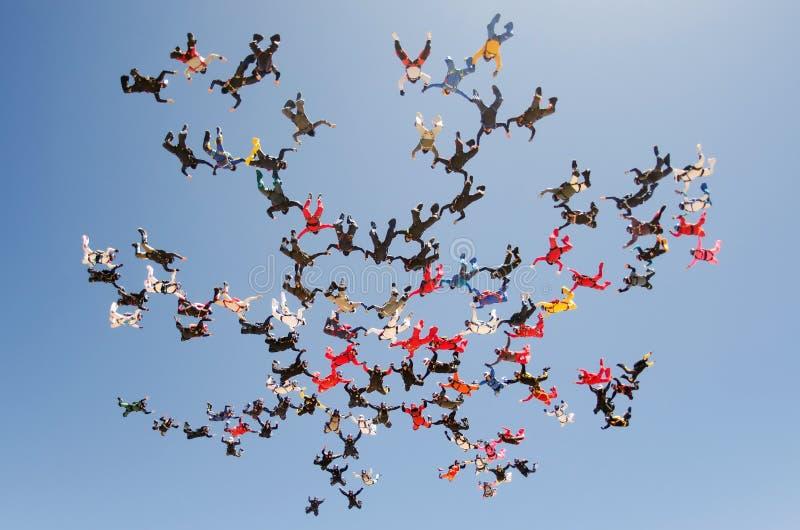 Mening van de de vormings lage hoek van de Skydivings de grote groep stock afbeelding