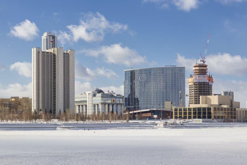 Mening van de dijk Yekaterinburg, Rusland van de kadewerf royalty-vrije stock foto
