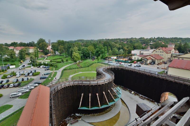 Mening van de graduatietoren De zoute mijn van Wieliczka krakau polen stock fotografie