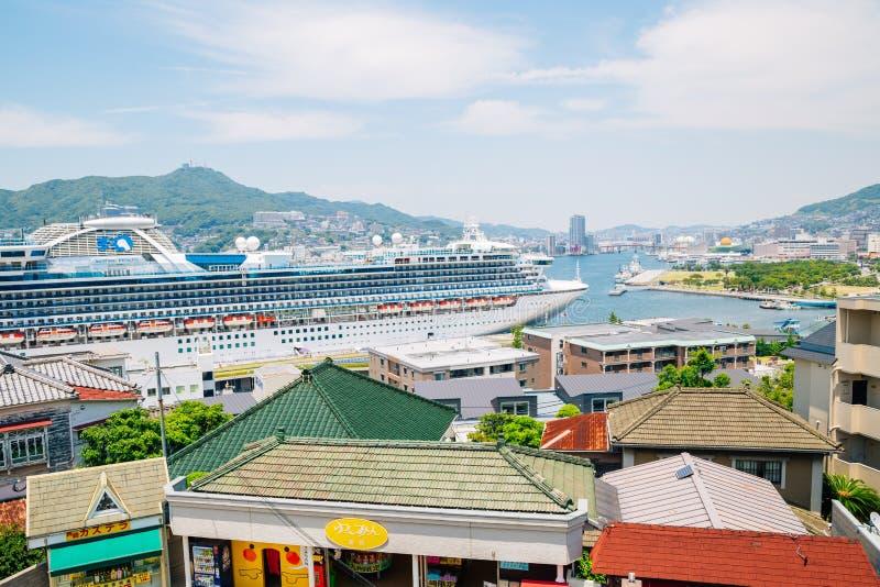Mening van de haven van Nagasaki in Japan stock afbeelding