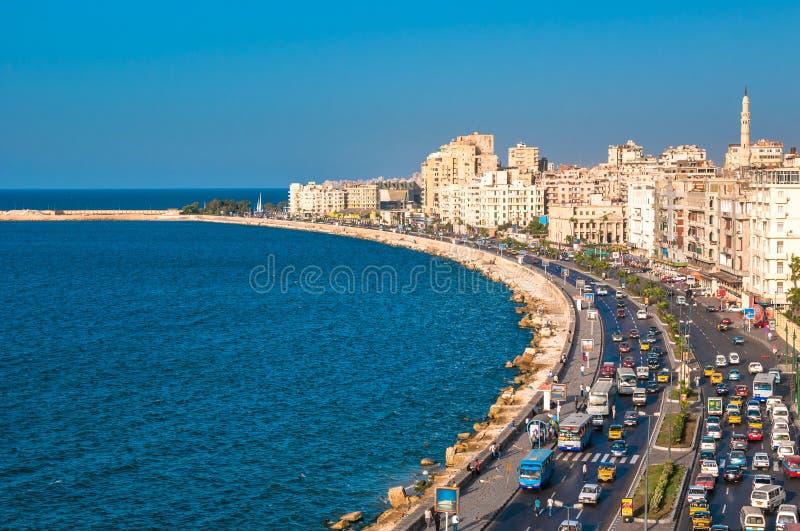 Mening van de haven van Alexandrië, Egypte stock foto's
