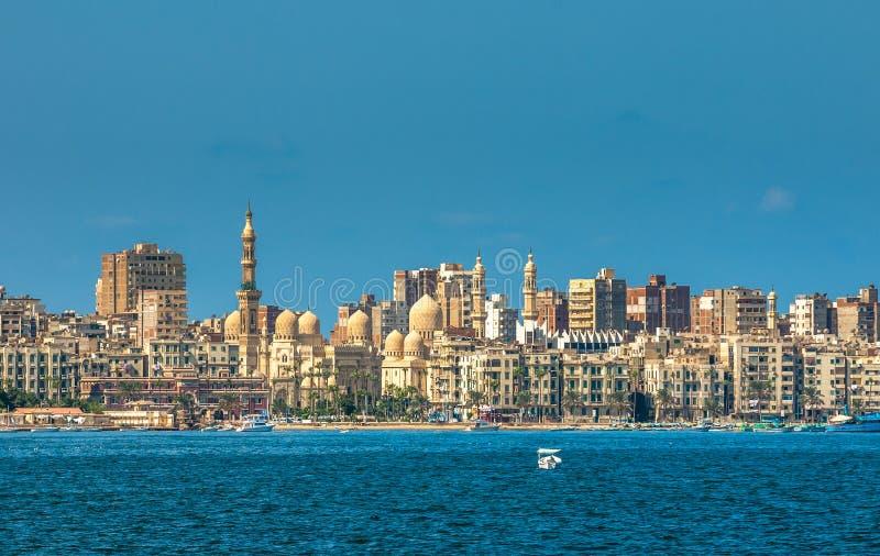 Mening van de haven van Alexandrië, Egypte stock afbeeldingen