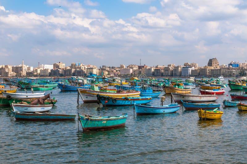 Mening van de haven van Alexandrië, Egypte royalty-vrije stock foto