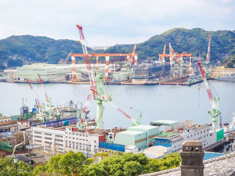 Mening van de havenhaven van Nagasaki royalty-vrije stock fotografie