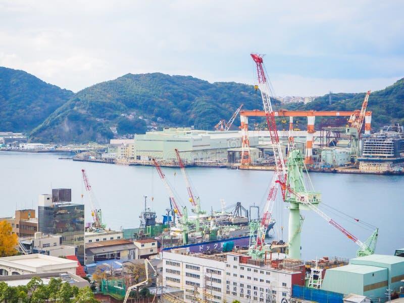 Mening van de havenhaven van Nagasaki stock afbeeldingen