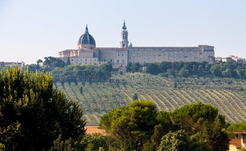 Mening van de heilige stad van Loreto stock foto's
