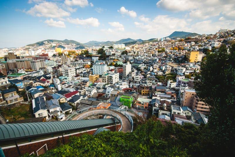 Mening van de Hemelweg over de stad van Nagasaki royalty-vrije stock fotografie