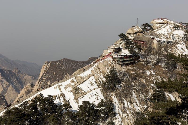 Mening van de het Westenpiek van de Zuidenpiek van Onderstel Huashan, China royalty-vrije stock foto's