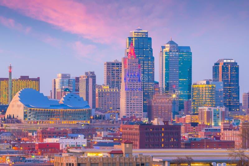Mening van de horizon van Kansas City in Missouri stock afbeelding