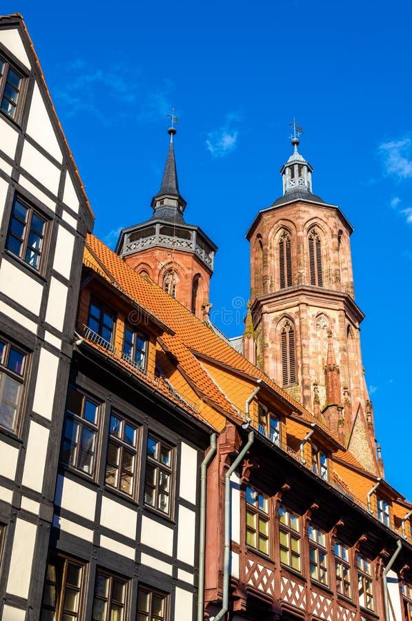Mening van de Johannis-kerk in Gottingen - Duitsland stock foto