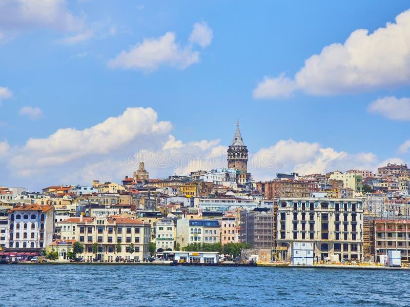 Mening van de Karakoy-districtshorizon Istanboel, Turkije royalty-vrije stock afbeelding