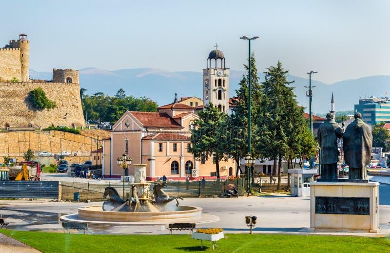 Mening van de Kerk St Demetrius in Skopje royalty-vrije stock afbeelding