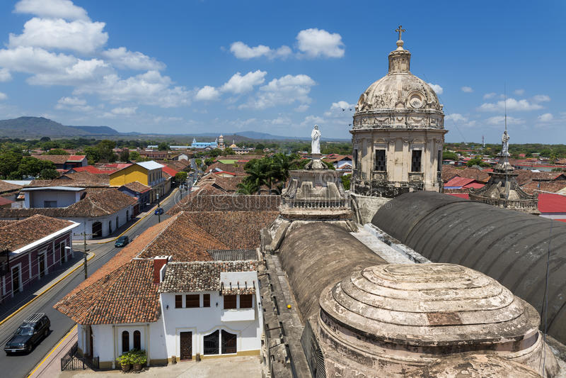Mening van de koloniale stad van Granada in Nicaragua, Midden-Amerika stock afbeeldingen