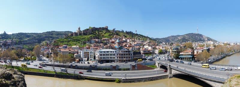 Mening van de Kura-Rivier, Tbilisi, Georgië stock foto's