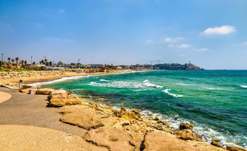 Mening van de Mediterrane waterkant in Tel Aviv stock afbeeldingen