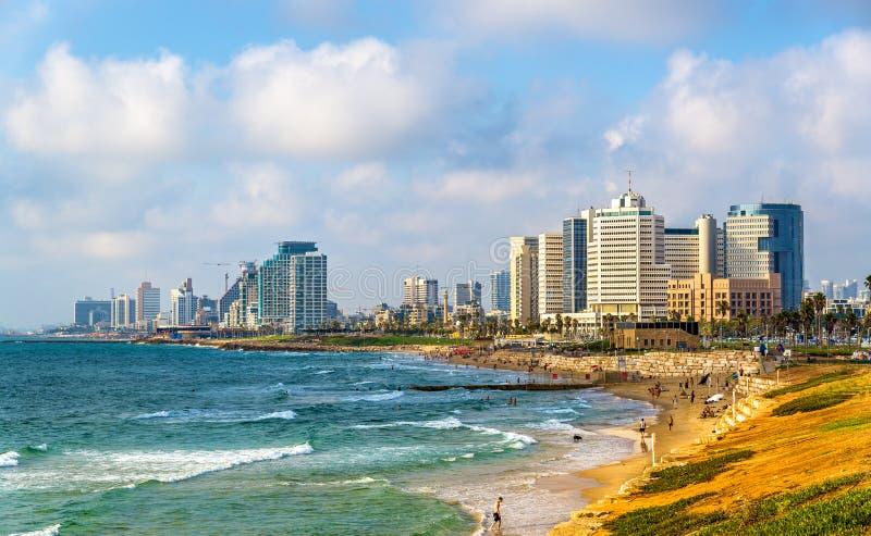 Mening van de Mediterrane waterkant in Tel Aviv royalty-vrije stock foto's