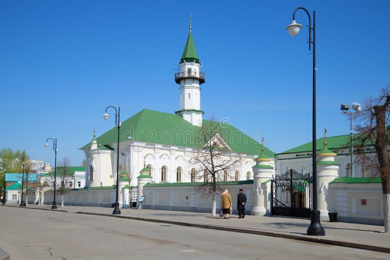 Mening van de moskee van al-Marjani in oude Tatar Sloboda Kazan, Tatarstan stock foto's
