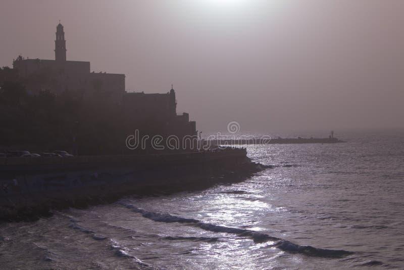 Mening van de oude haven in Tel Aviv bij zonsondergang israël royalty-vrije stock foto