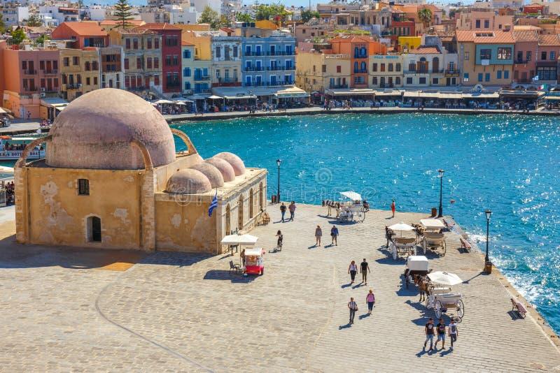 Mening van de oude haven van Chania op Kreta, Griekenland Chania is de tweede - grootste stad van Kreta stock afbeeldingen