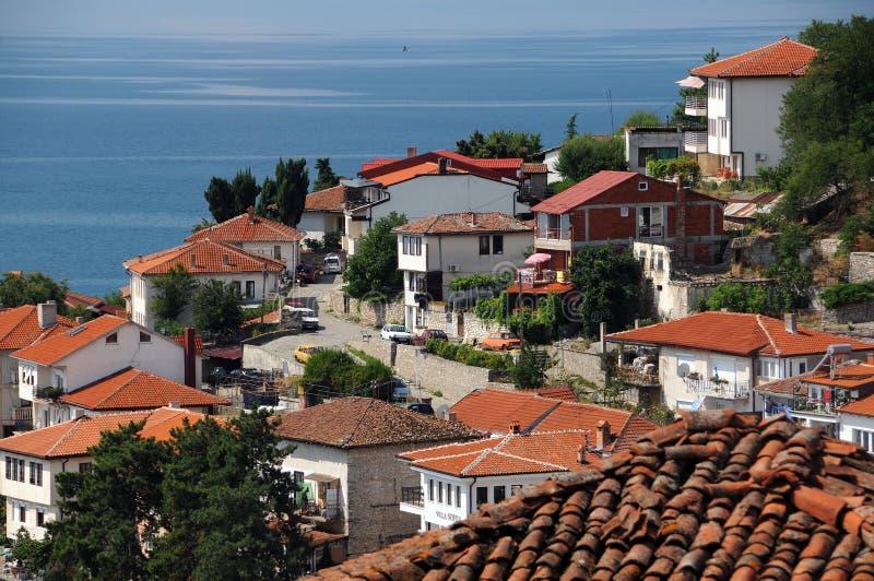 Mening van de Oude Stad van Ohrid stock fotografie
