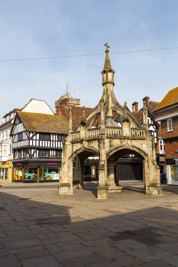Mening van de oude stad van Salisbury, het UK stock afbeelding