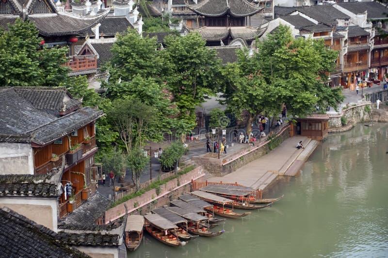 Mening van de oude stad van Fenghuang stock afbeeldingen