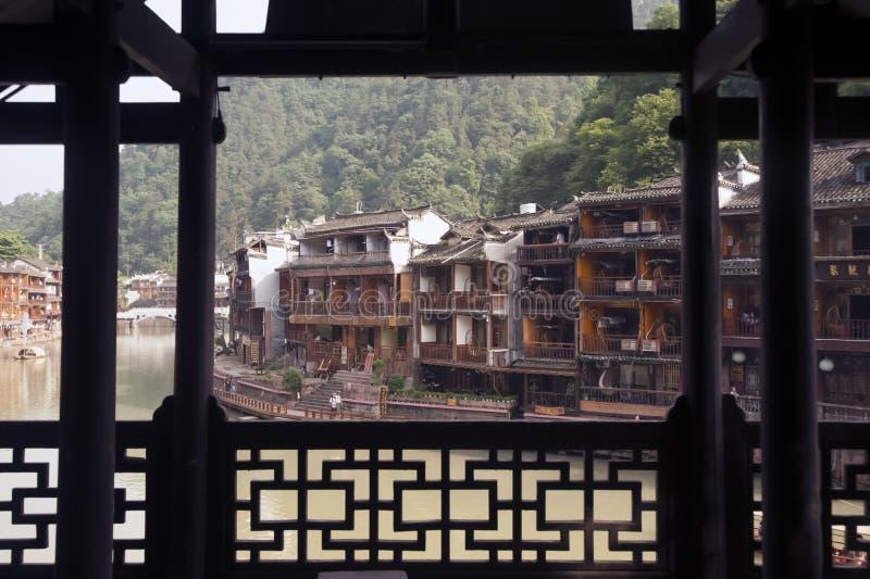 Mening van de oude stad van Fenghuang stock fotografie