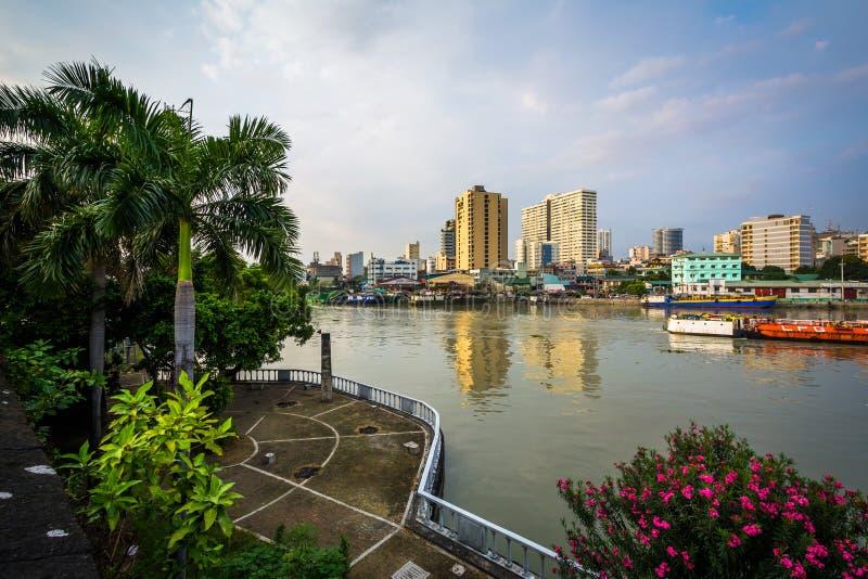 Mening van de Pasig-Rivier bij Fort Santiago, in Intramuros, Manilla, stock afbeeldingen