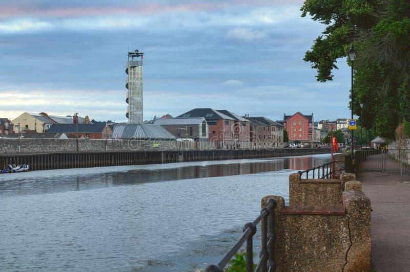Mening van de rivier Exe in Exeter stock foto