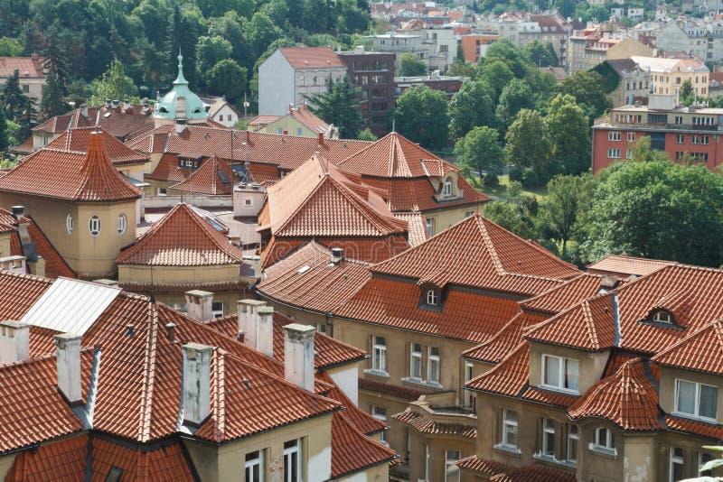 Mening van de rode daken van oud Praag stock foto's