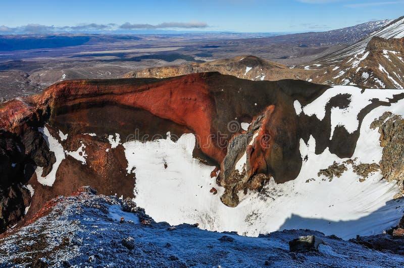 Mening van de Rode Krater in het Nationale Park van Tongariro, Nieuwe Zea stock fotografie