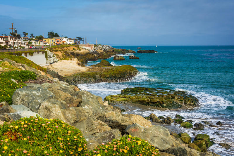 Mening van de rotsachtige Vreedzame Kust in Santa Cruz stock foto's