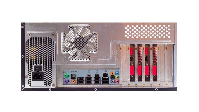 Mening van de rug van een bureaucomputer met een zichtbaar verbindingspaneel, audio, LAN, muis, toetsenbord, USB stock foto