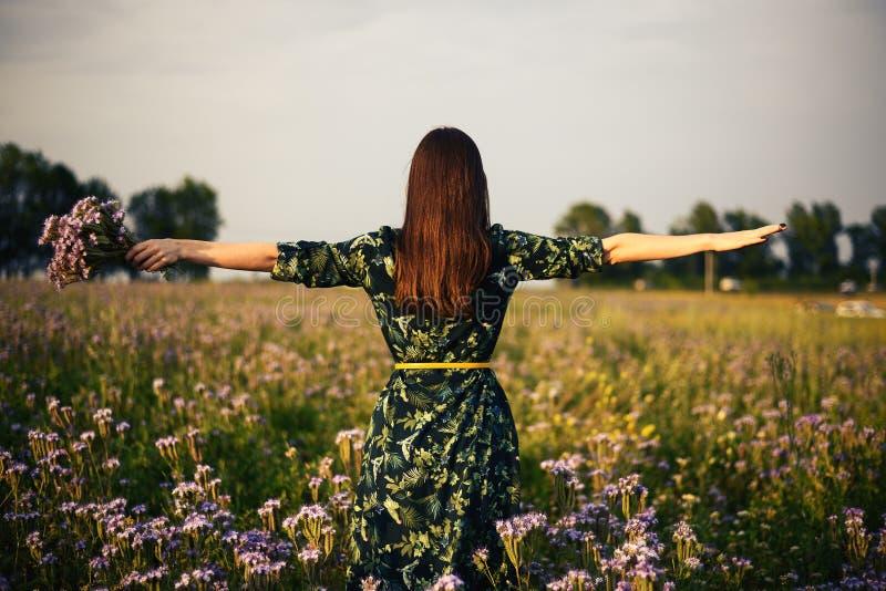 Mening van de rug van een vrouwenbrunette met een boeket van purpere bloemen op een bloemgebied in de zonsondergang, vrijheid, dr stock fotografie
